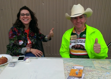 Daniella and Frank at the riding in traffic table